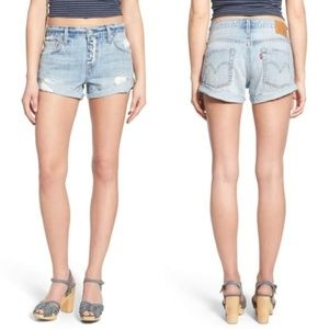 Levi's Distressed Exposed Button Fly Shorts